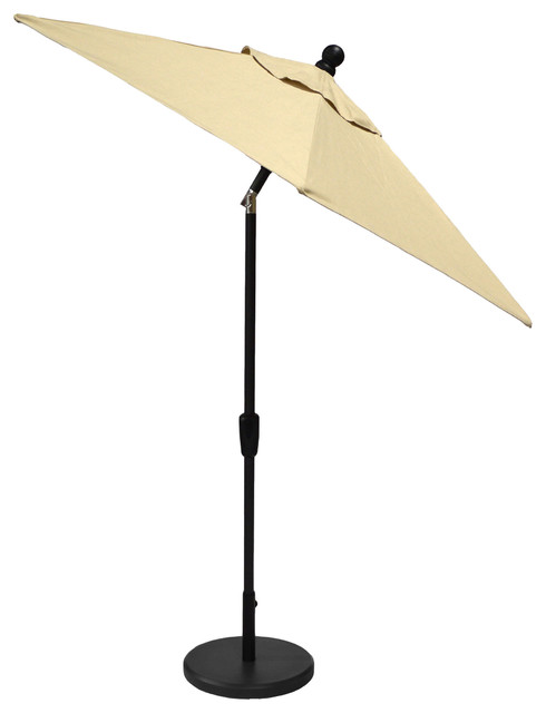 7.5&x27; Auto-Tilt Umbrella, Sunbrella Spectrum Sand, Bronze Frame.