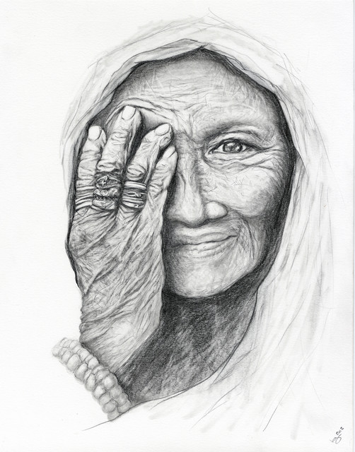 Labor Day Furniture Sale >> Old Woman Portrait Pencil Drawing - Contemporary - Fine Art Prints - by The Kelly Green Gallery