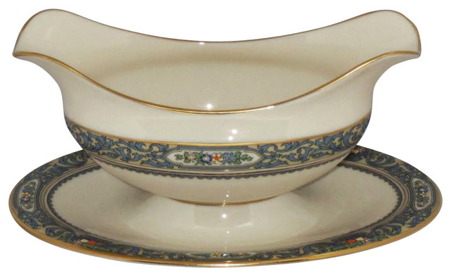 Lenox Autumn Gold Back Stamp Gravy Boat With Attached