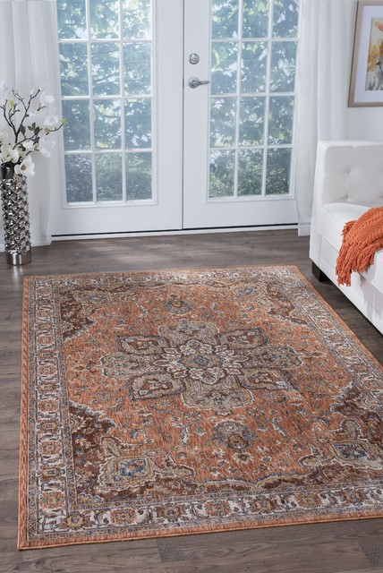Finley Traditional Oriental Spice Rectangle Area Rug, 5' x 7'