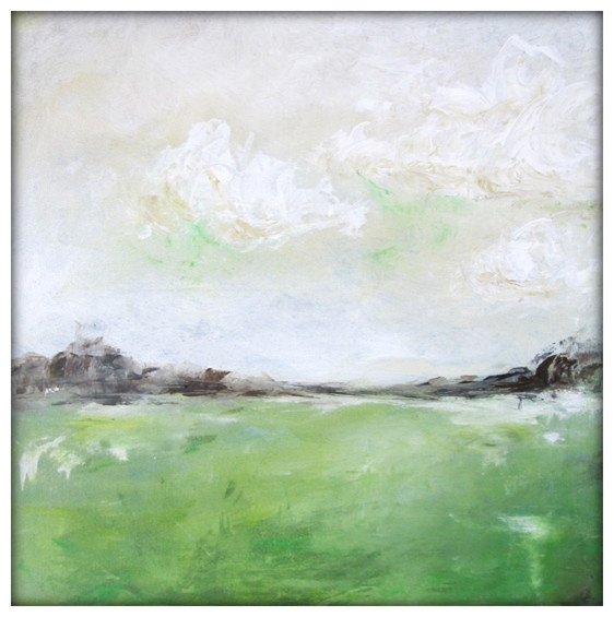 Abstract Landscape Acrylic Painting On Canvas, 24x24 Greens, Creams.