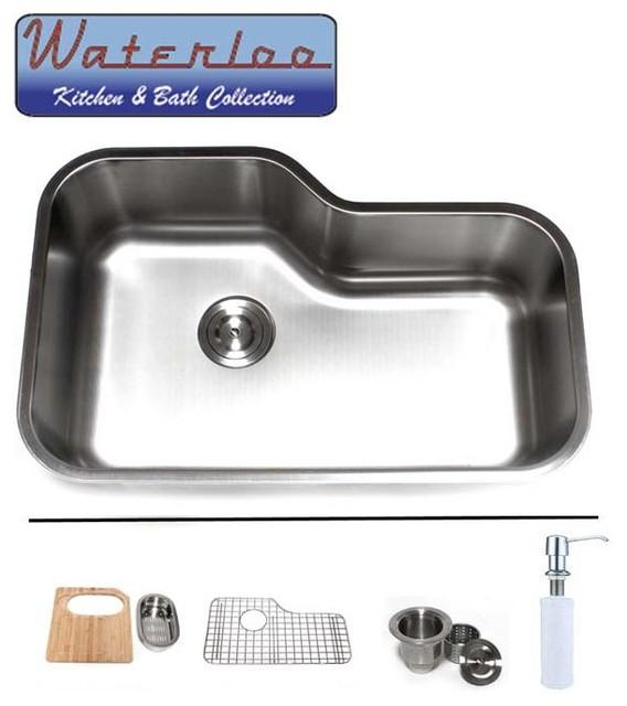 30   waterloo premium stainless steel undermount offset single bowl kitchen sink kitchen sinks waterloo eurotec   30   waterloo premium stainless steel undermount      rh   houzz com