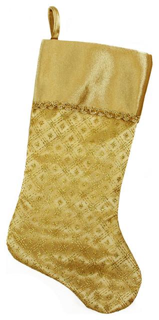 205 gold glitter star print christmas stocking
