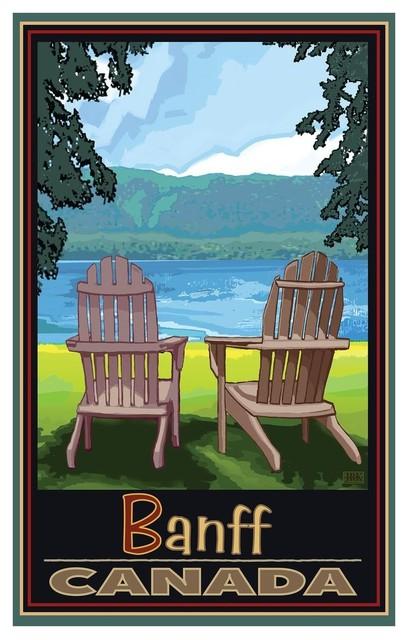 Joanne Kollman Banff Canada Adirondack Chairs Lake Art Print, 12\