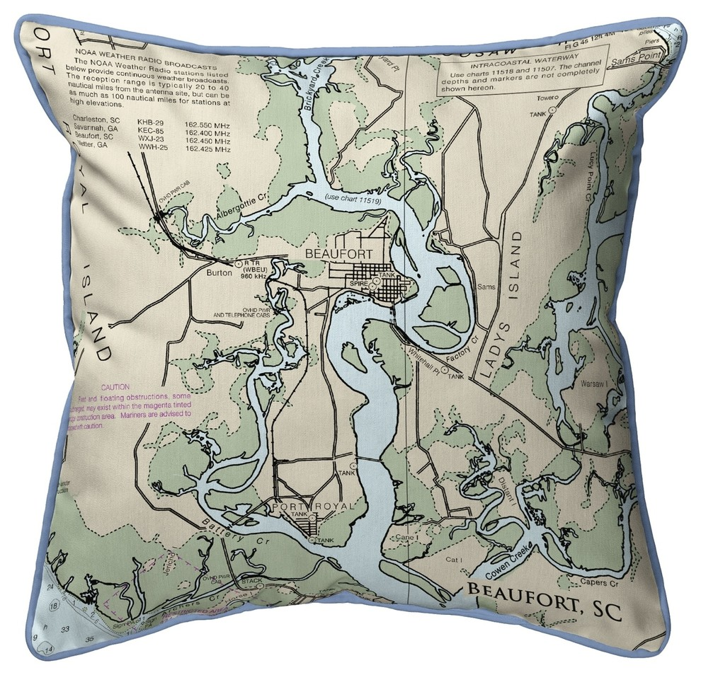 Betsy Drake Beaufort Detail Sc Nautical Map Corded Indoor Outdoor Pillow 18x1 Contemporary Outdoor Cushions And Pillows By Zeckos