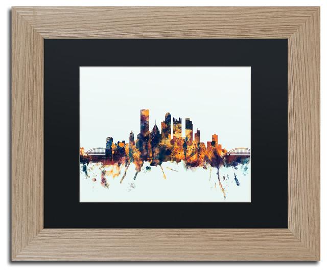 Home Decor Pittsburgh Pa: Michael Tompsett 'Pittsburgh PA Skyline Blue' Matted