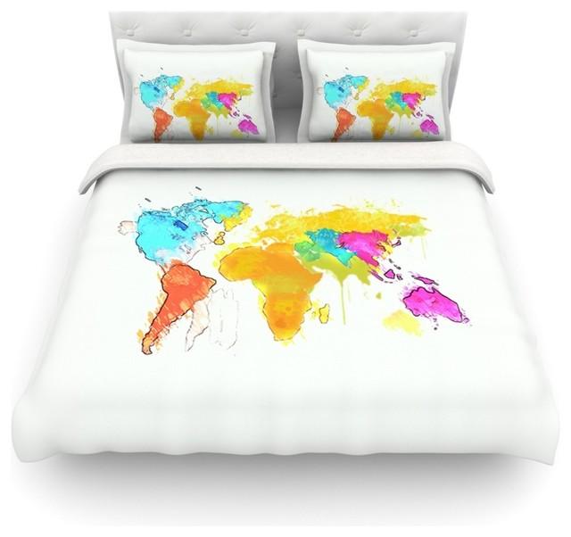 Oriana cordero world map rainbow white cotton duvet cover oriana cordero world map rainbow white cotton duvet cover twin 68 gumiabroncs Images