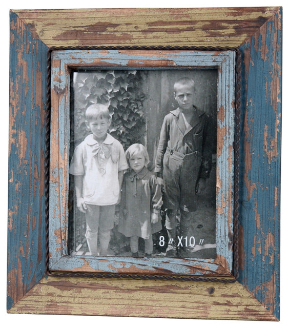 blue and green distressed wood frame rustic picture frames - Distressed Wood Picture Frames