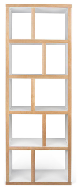 Berlin 5 Levels Bookcase, 70 cm., Pure White/Plywood