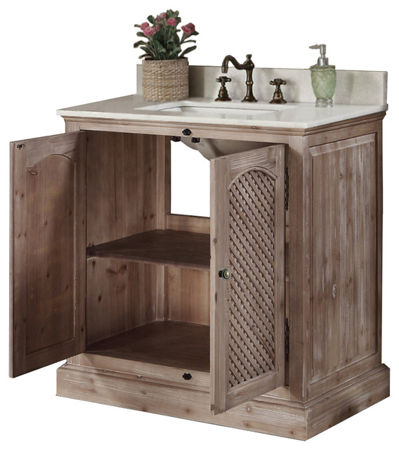 Rustic Style 31 Inch Bathroom Vanity Traditional Bathroom Vanities And Sink Consoles By Infurniture Inc Houzz