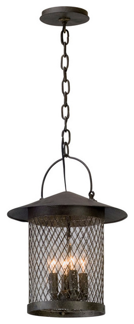 Troy Outdoor Pendant Altamont French Iron Clear Seeded Glass 4-Light 12In