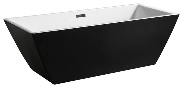 Europe-Style Acrylic Freestanding Bathtub, Black And White.