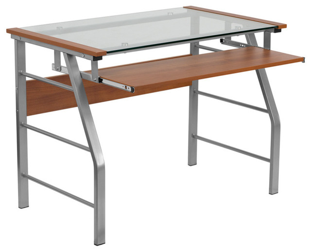 Glass Computer Desk With Pull Out Keyboard Tray