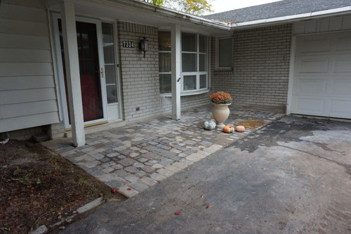 Field Stone To Cover Brick Vs Paint? Will It Clash With Paver Porch?