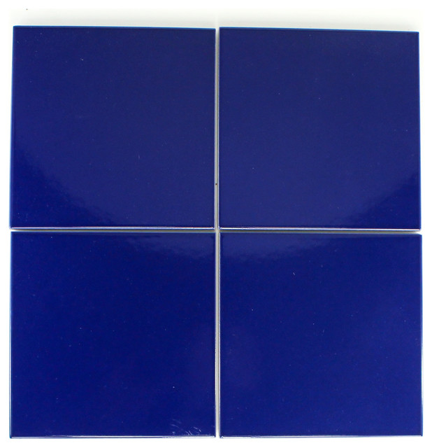 Cobalt Blue 6x6 Glazed Pool Tile Contemporary Wall And