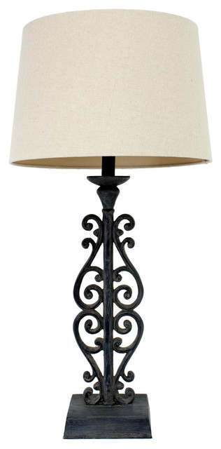 Iron Table Lamp: Faux Distressed Iron Table Lamp mediterranean-table-lamps,Lighting