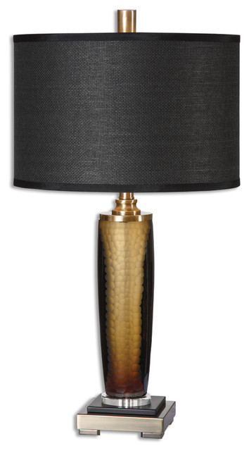 Etonnant Mid Century Modern Black Gold Amber Glass Table Lamp, Textured Round  Dramatic   Contemporary   Table Lamps   By My Swanky Home