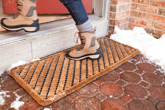 Entryways Rectangle Striped Wire Doormat, 18 x 42 Inch