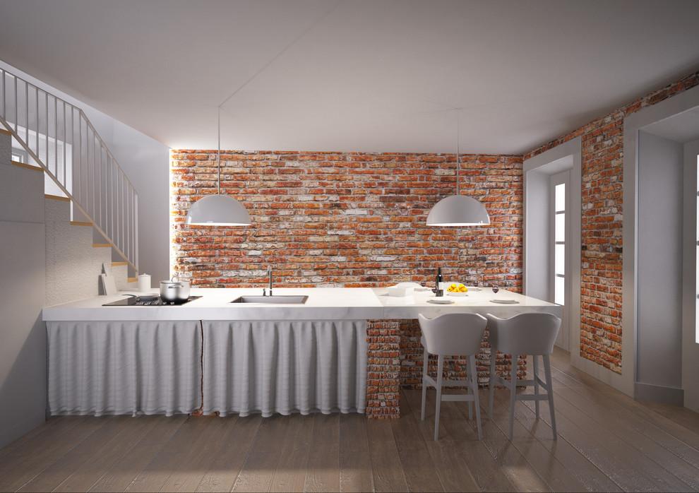 Cucina in muratura con mattoni di recupero