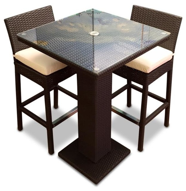 Outdoor Wicker Resin 3 Piece Dining Bar Table And Bar Stool Set Contemporar