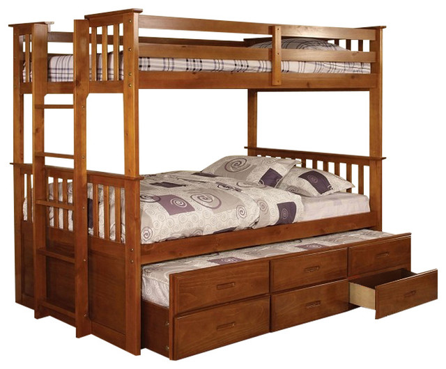 University Oak Twin Over Size Bunk Bed Trundle And Drawer