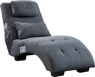 Equinox Tufted Chaise Lounge With Bluetooth Speakers, Dark Gray