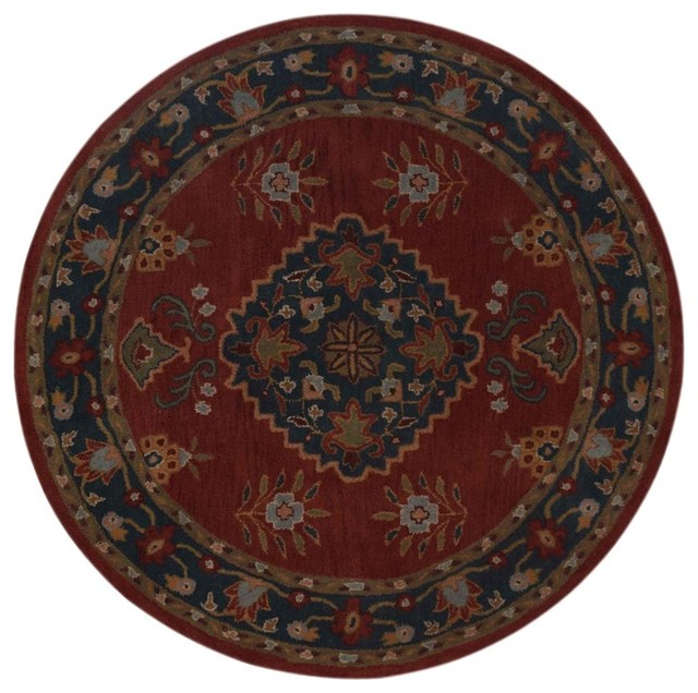 Shop Oushak Floral Tufted Wool Persian Oriental Area Rug: Oushak Nature & Floral Hand-Tufted 8' Round Oriental Area