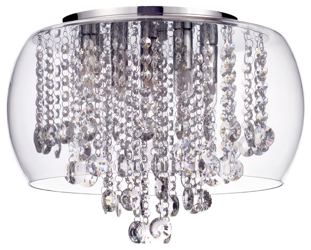 Marquis by Waterford, Nore Flush Ceiling Light, Chrome & Glass