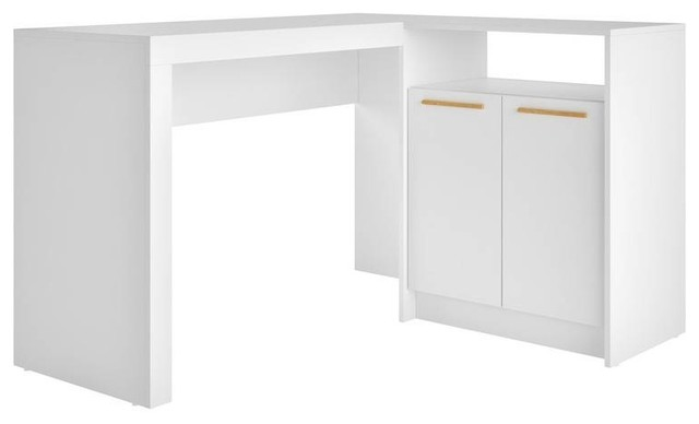 Beau Contemporary L Shaped Office Desk, 2 Door, White