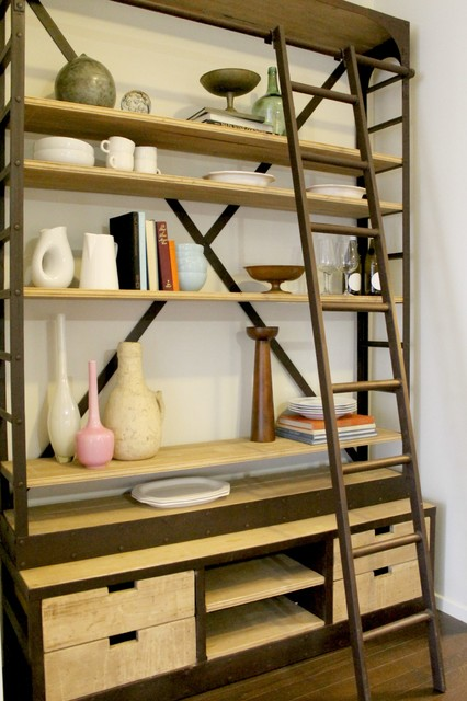 Ladder Bookcase Restoration Hardware Style eclectic