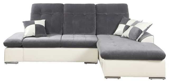 Classic Large Sectional Couch, Dark Gray, White.