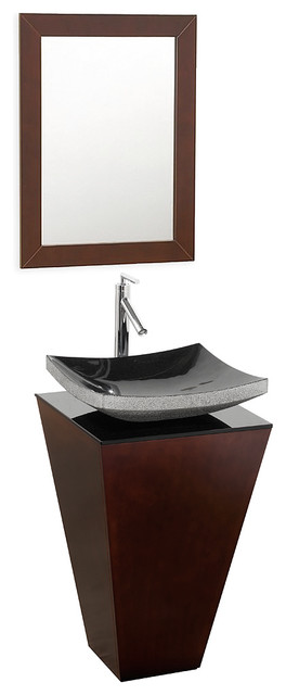 Esprit 20 Espresso Pedestal Vanity, Smoke Glass Top, Altair Black Granite.