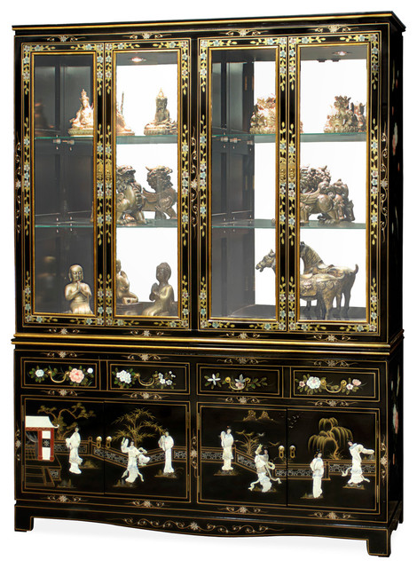 "China Furniture and Arts - 60"" Black Lacquer Pearl Figure Motif China Cabinet & Reviews 
