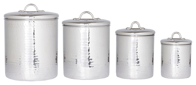 4 Pc. Stainless Steel Hammered Canister Set With Fresh Seal Covers  Traditional Kitchen
