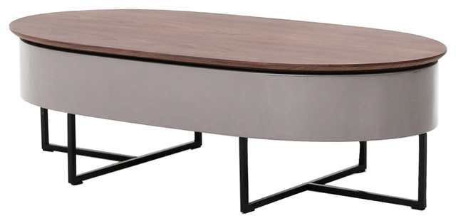 Hansel Lift Top Oval Coffee Table Walnut Gray