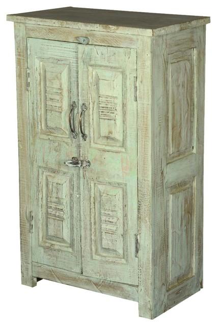 Palisade Unique Carved Panel 2 Door Storage Cabinet Rustic