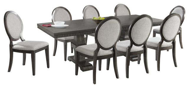 Steele 9 Piece Dining Set, Table And 8 Round Fabric Chairs