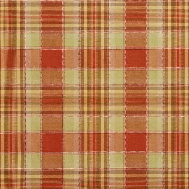 Light Green And Orange Country Plaid Upholstery Fabric By