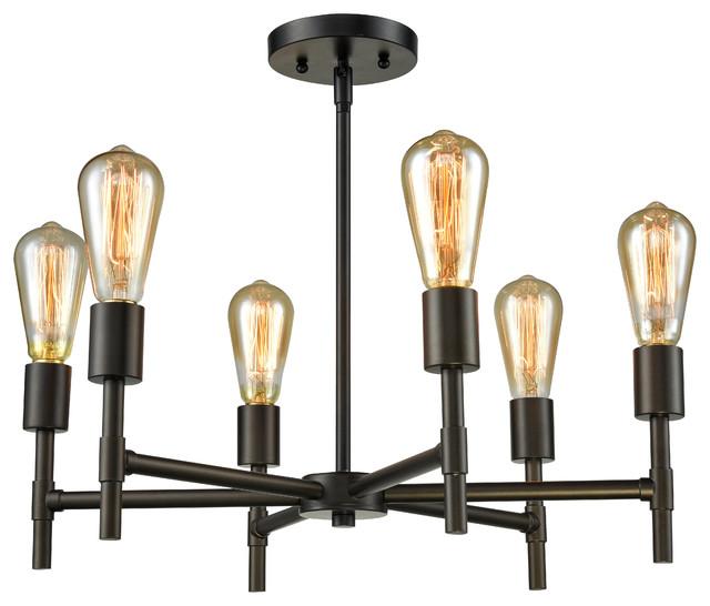 6 Lights Vintage Pendant Lamp, Dark Bronze.