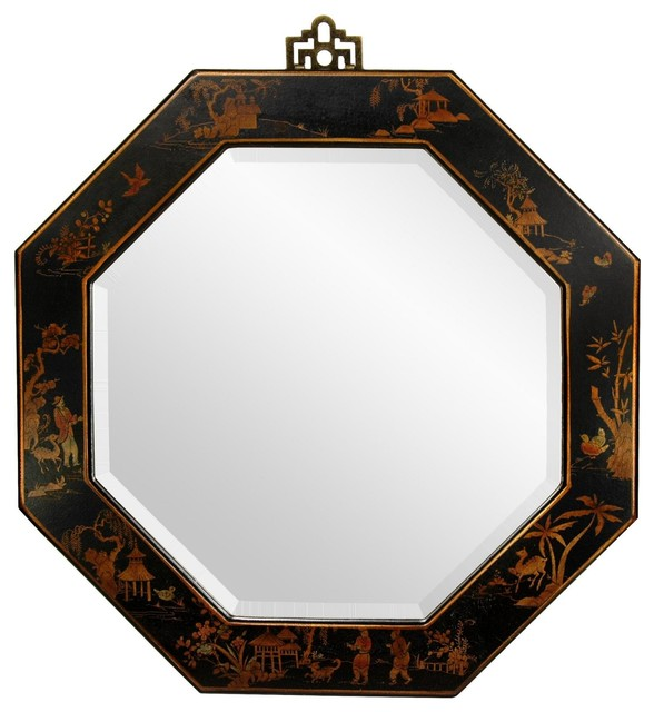 Lacquer Octagonal Mirror Black Asian Wall Mirrors by