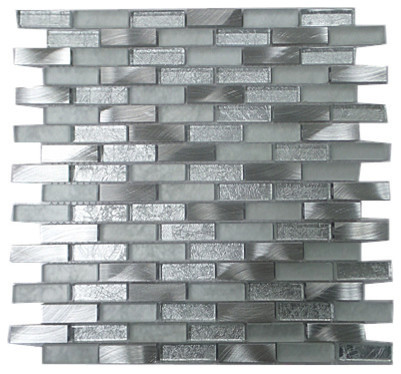 Frosted Clear Gl With Aluminum Chips And Chrome Metallic Mosaic Tile Contemporary