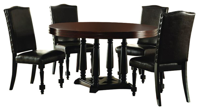 Homelegance blossomwood 5 piece round dining room set for Traditional round dining room sets