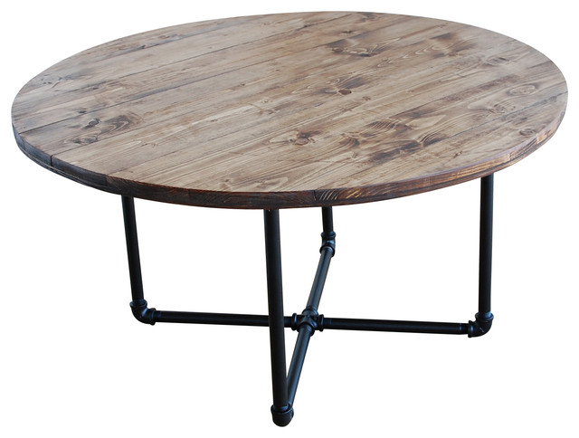 Round industrial coffee table with pipe legs industrial for Coffee tables industrial