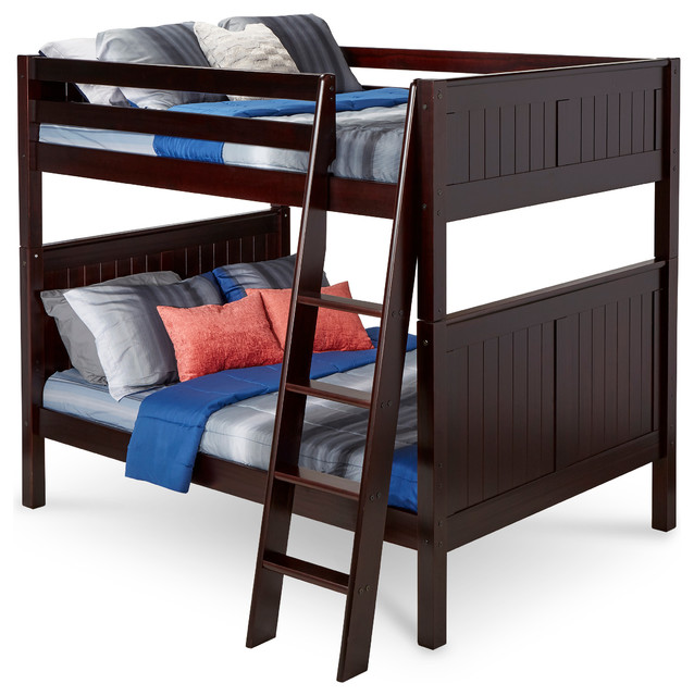 Camaflexi Full Over Full Bunk Bed, Panel Headboard, Angle Ladder, Cappuccino.