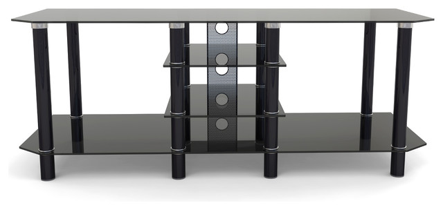 Ryan Rove Salerno 60 Glass And Metal Tv Stand Black With Cable