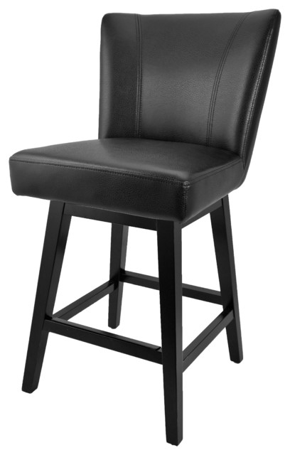 Swivel Leather Counter Stool Transitional Bar Stools