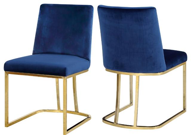 Heidi Velvet Dining Chairs, Set Of 2, Navy
