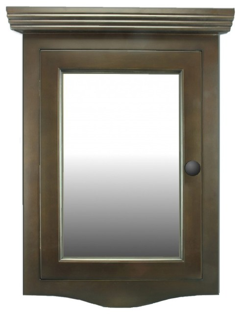 Wall Mount Corner Medicine Cabinet With Mirror Dark Oak.