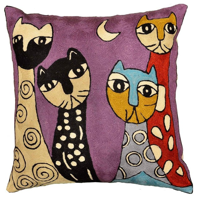 "Picasso Purple Cat Pillow Cover Quadruplets Hand-embroidered, 18""x18"""
