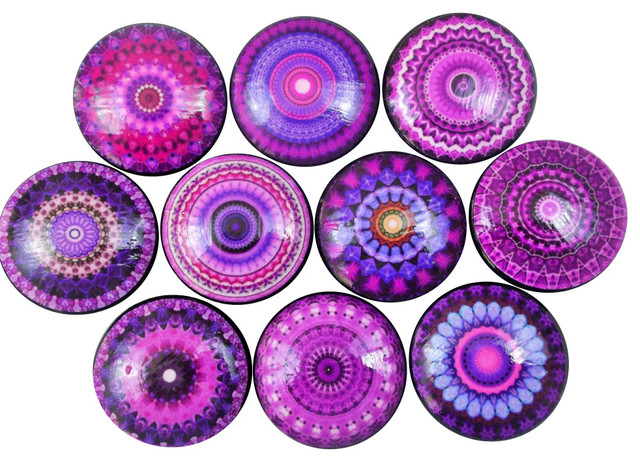 Superbe Purple Mandala Cabinet Knobs, 10 Piece Set